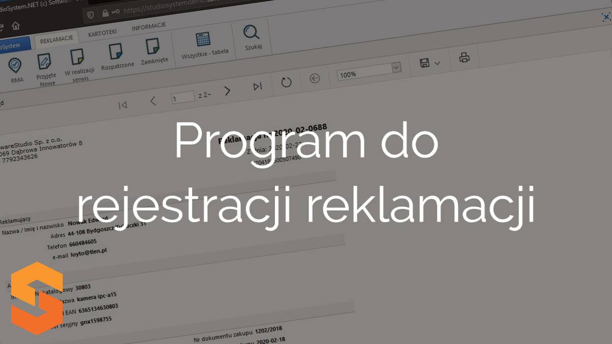 aplikacja rma,program do rejestracji reklamacji